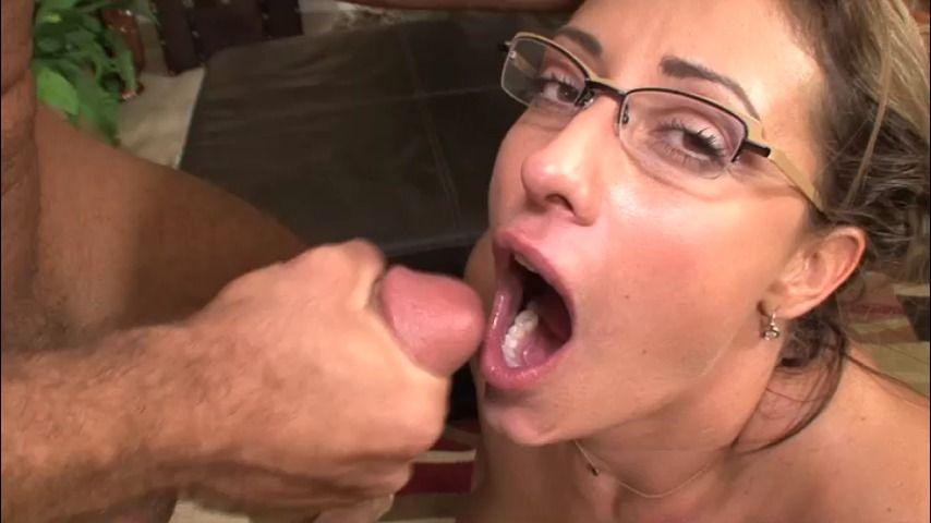 Hot mom swallows cum